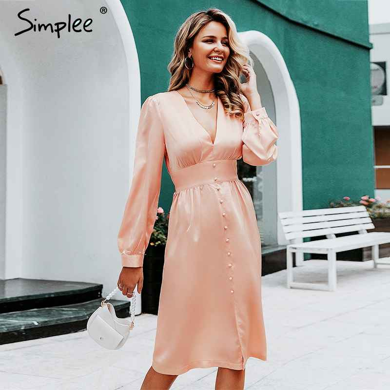 Autumn Winter Dresses Simplee Deep V Neck Satin Women Midi