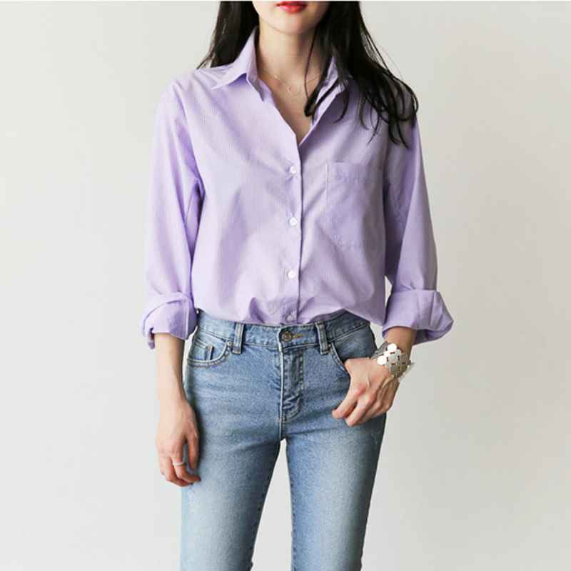Blouses one pocket womens blouse and tops turn-down collar full