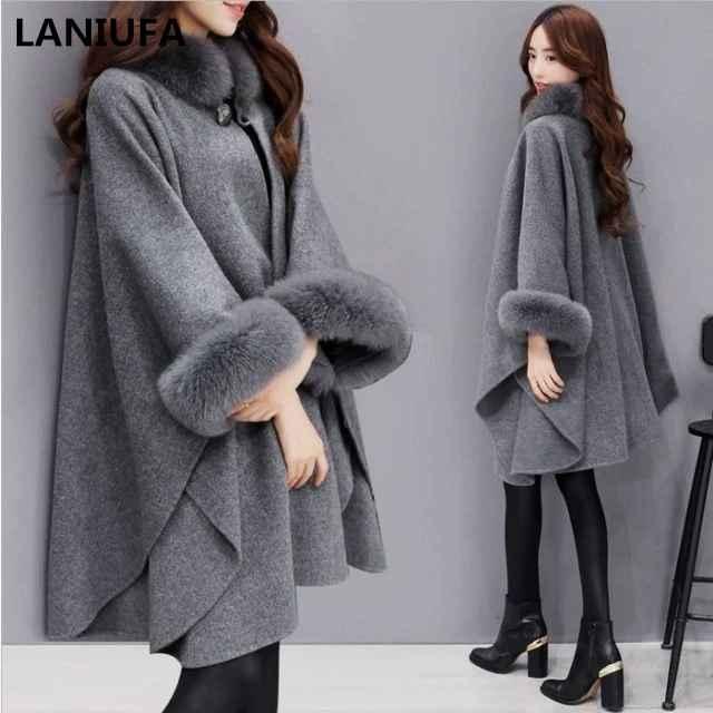 2019 Autumn Winter Women Coat Wide Lapel Loose Warm Outwear