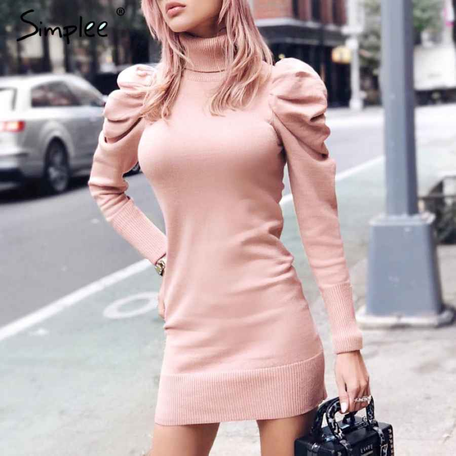 Turtle Neck Bodycon Winter Knitted Women Dress Puff Shoulder Pink