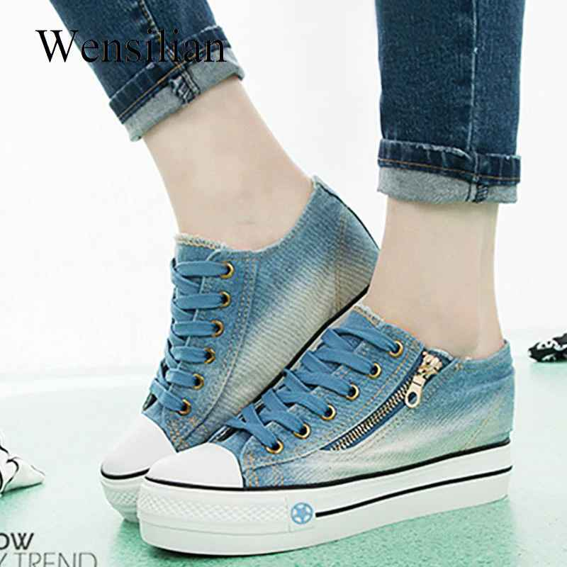 Fashion Denim Canvas Shoes Sneakers Women Trainers Ladies Vulcanize Shoes
