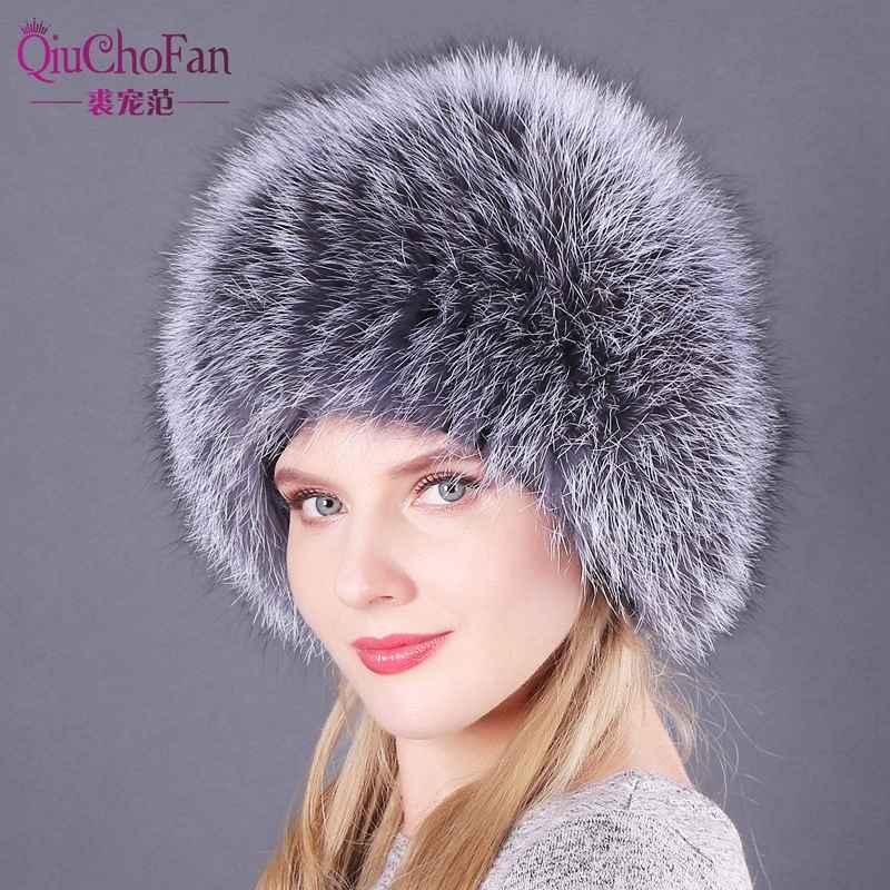 Natural Fox Fur Hats For Women Real Fur Beanies Cap