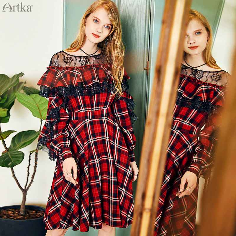 Artka 2019 Autumn New Women Dresses Vintage Plaid Dress Elegant