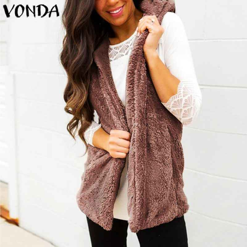 Vonda 2019 Autumn Winter Coat Women Sleeveless Jackets Casual Loose