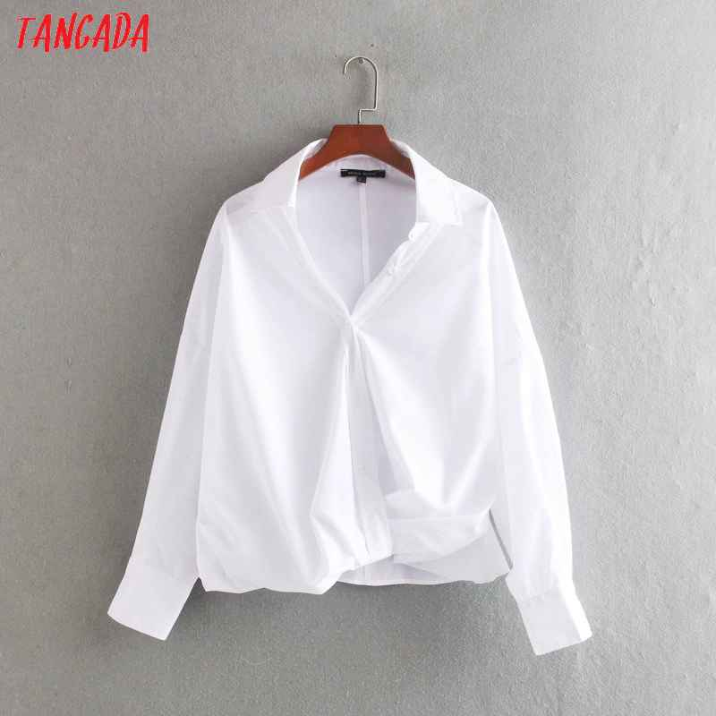 Blouses tangada women chic white blouse oversized long sleeve turn