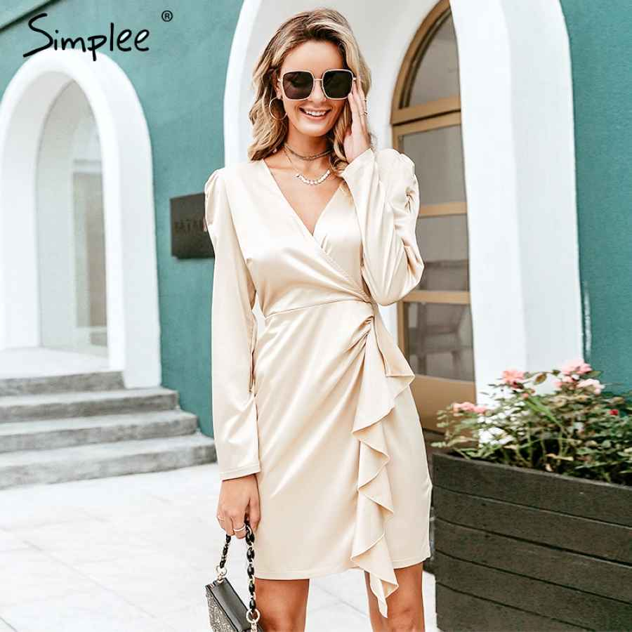 V Neck Satin Ruffle Dress Vintage Puff Sleeve Women Party