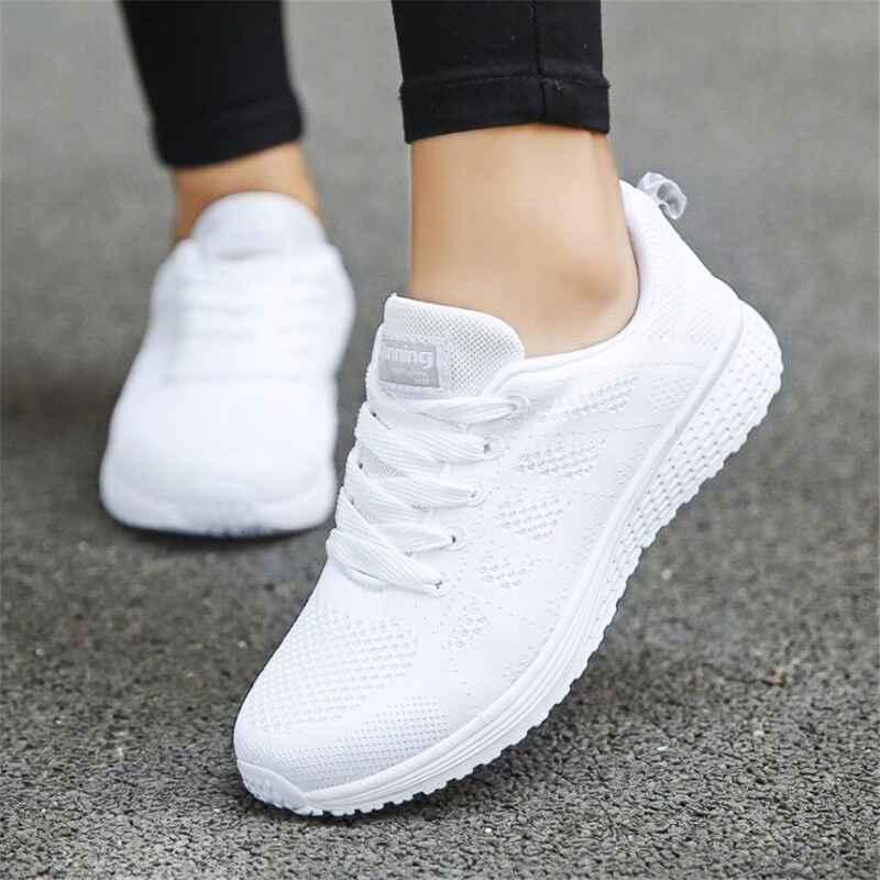 Casual Women Shoes Fashion Lace Up Walking Flat Shoes White