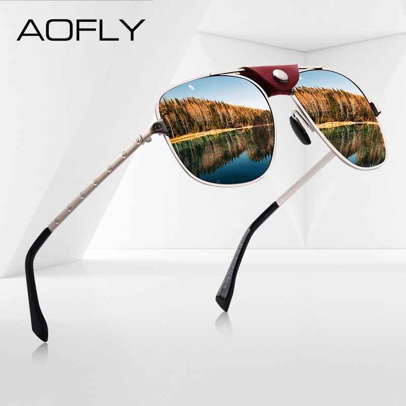 Fashion Polarized Sunglasses Men Driving Shades Vintage Gold Pilot Frame