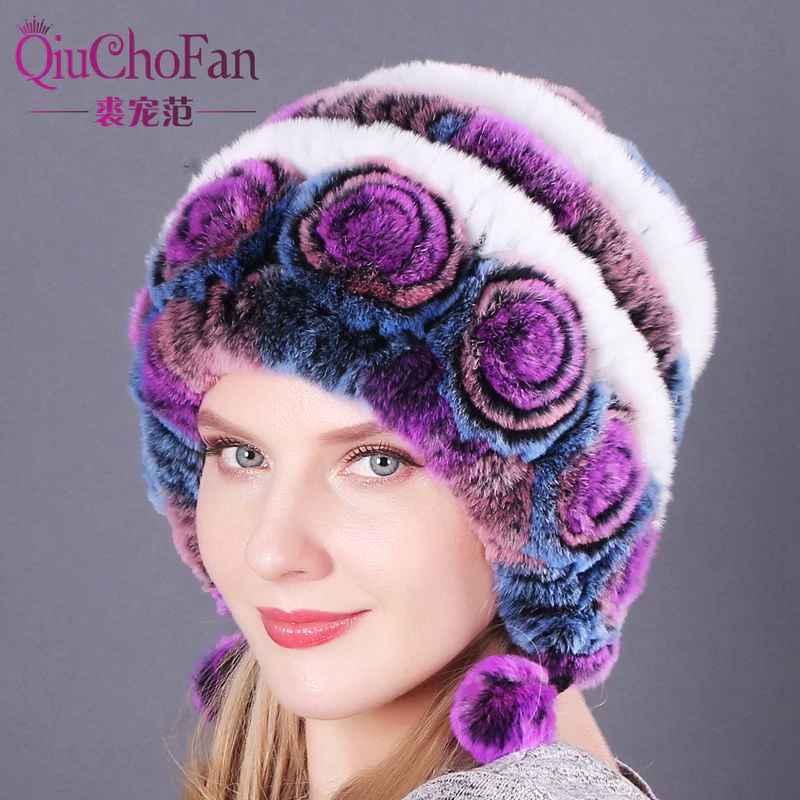 Natural Soft Knitted Rex Rabbit Fur Hat Russia Women Winter