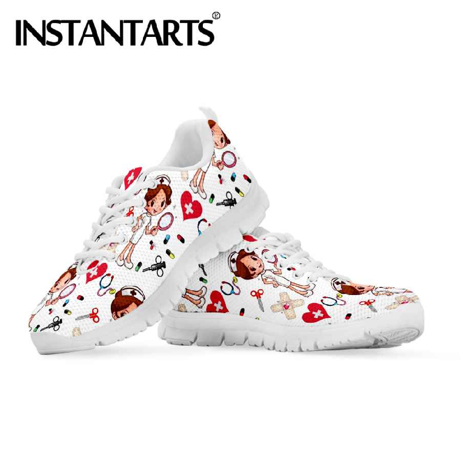 Instantarts Spring Nurse Flat Shoes Women Cute Cartoon Nurses Printed