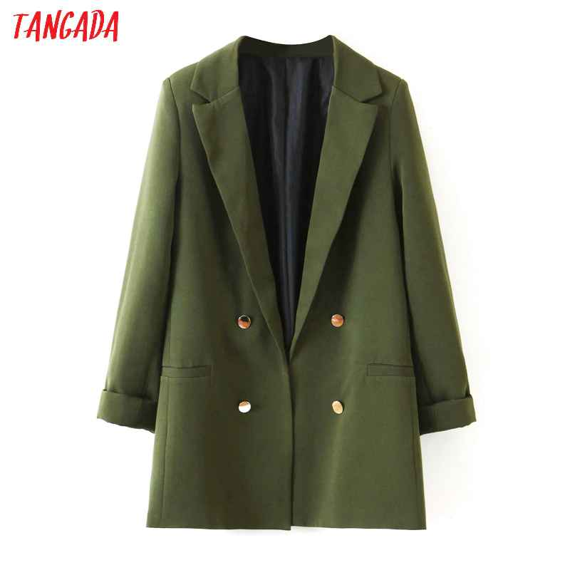 Blazers tangada fashion amygreen blazer for female three quarter sleeve