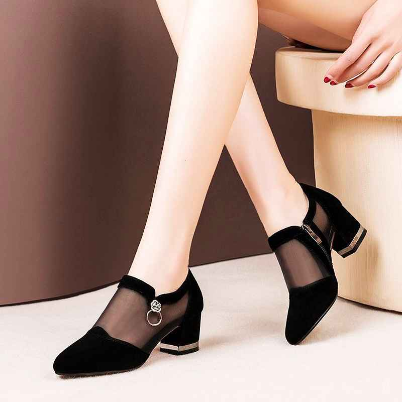 Summer Women High Heel Shoes Mesh Breathable Pomps Zip Pointed