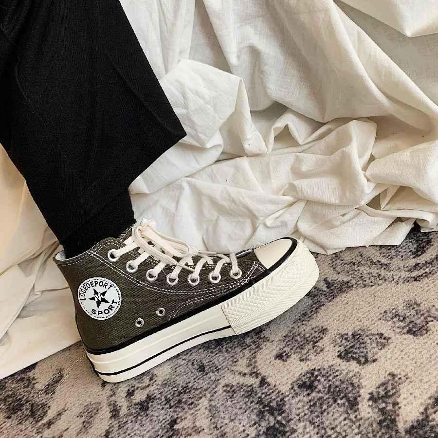 High-Top 4cm Platform Canvas Women Shoes Retro Lace-Up Ladies Casual