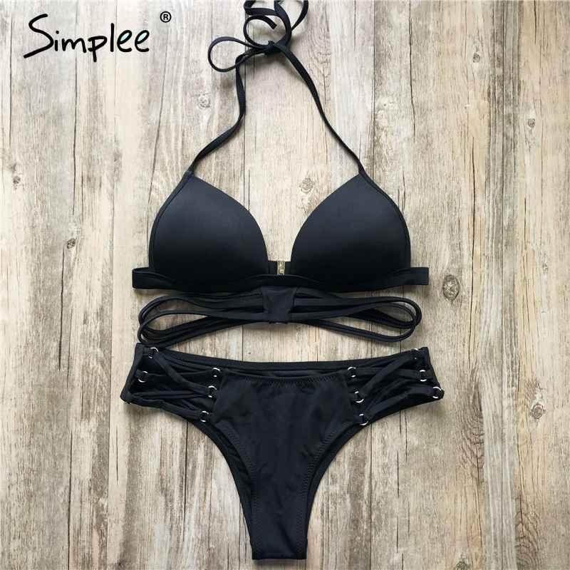 Swimwear Simplee String Bikini Triangle Swimsuit Women 2019 Summer Cross