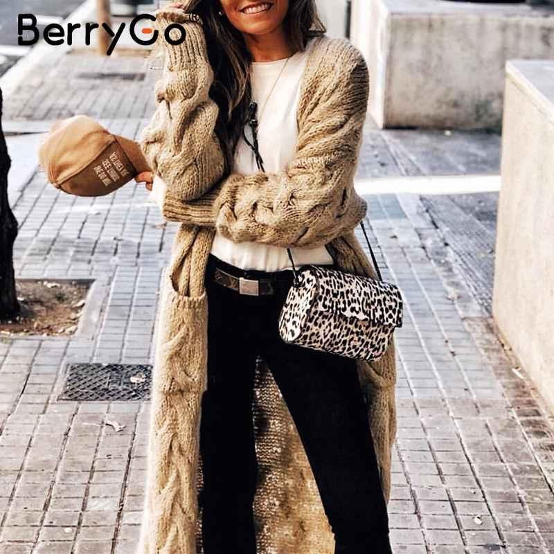 Womens Sets Berrygo Vintage Mohair Long Cardigan Women Sweaters Female