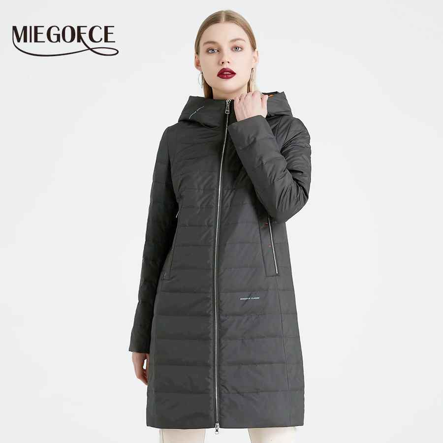 Miegofce 2019 Spring And Autumn Women s Coat Cotton Windproof Hat