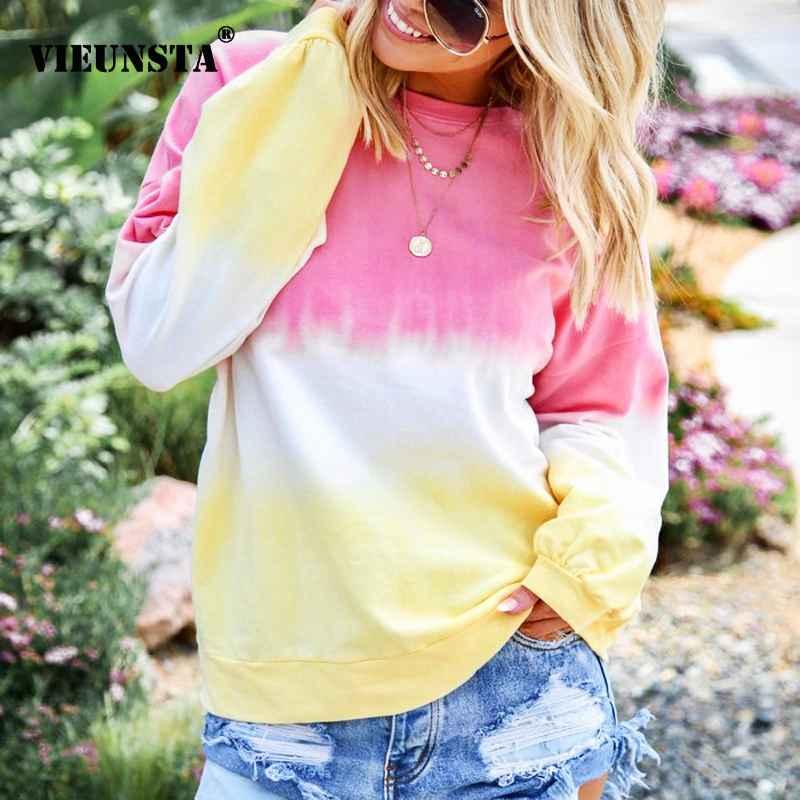 Vieunsta 5xl Autumn Fashion Gradient Color Print Hoodies Women Sweatshirt