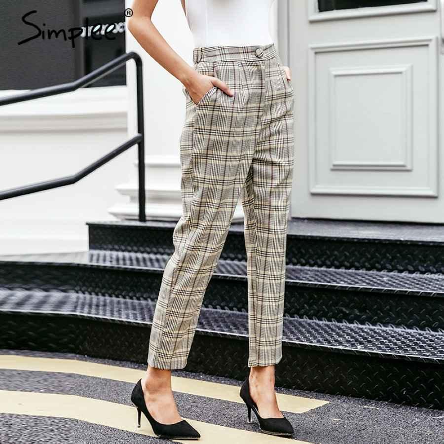 Elegant Plaid Blazer Women Pants Casual Autumn Winter Streetwear Female