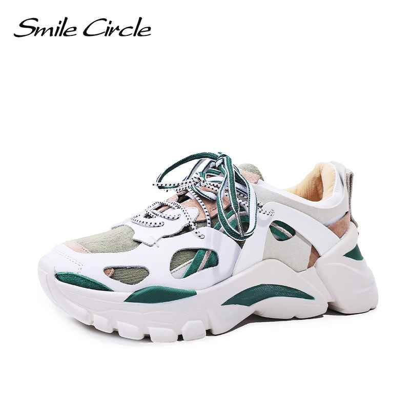 Smile Circle Fashion Chunky Sneakers Women Shoes Flat Platform Sneaker