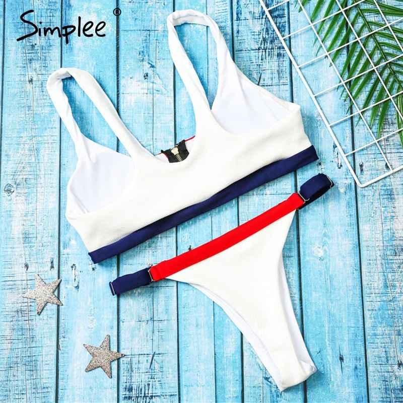 Swimwear Simplee Zippered Push Up Stitching Women Bikini Swimwear Summer
