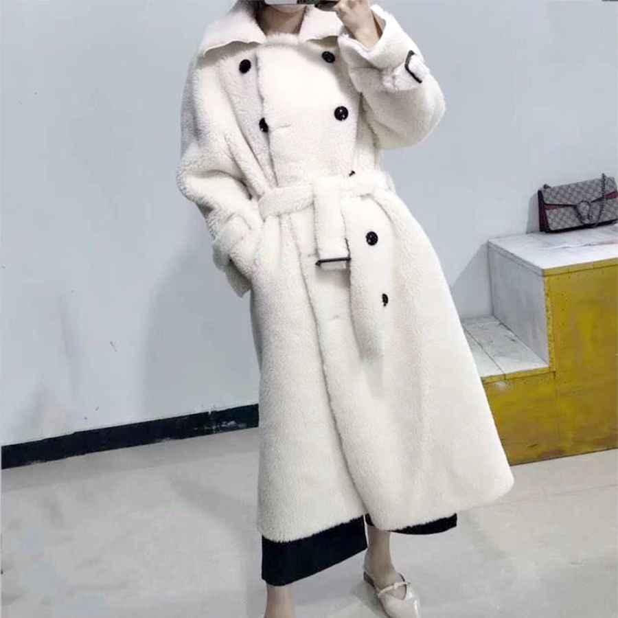 2019 Bffur Long Woolen Jacket With Belt Real Fur Coat