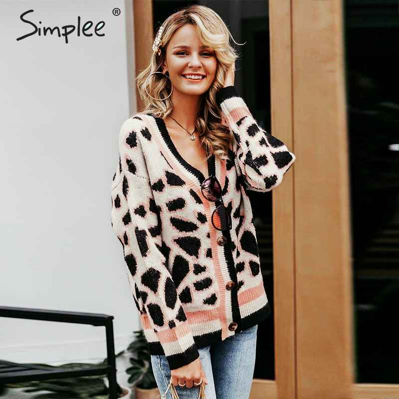 Vintage Leopard Print Women Knitted Cardigan Sweater V-Neck Buttons Short
