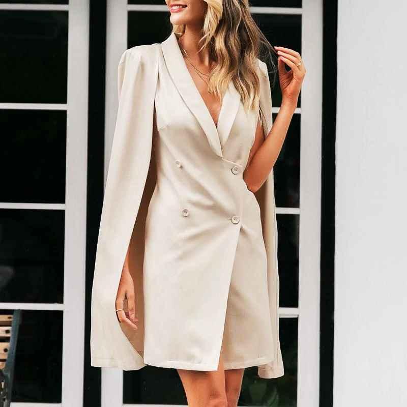 Turmeric Elegant Doubled Breast Blazer Dress Sexy V-Neck Cloak Women