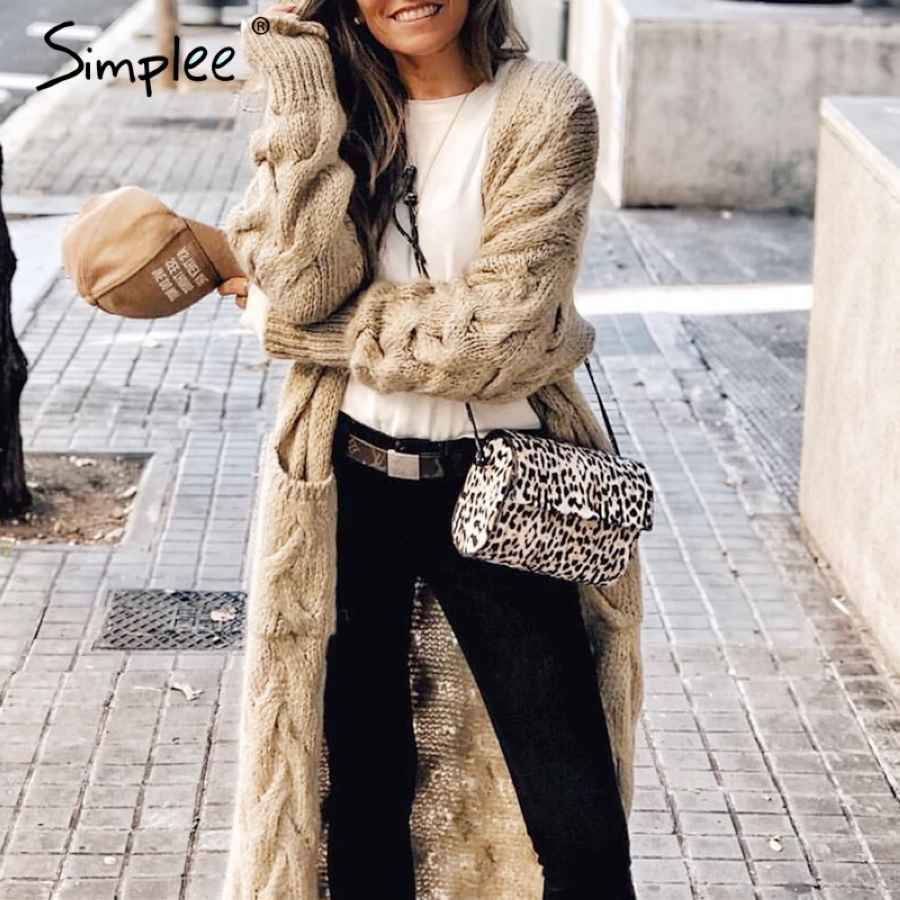 Winter Mohair Long Cardigan Knitted Sweater Women Long Sleeve Female