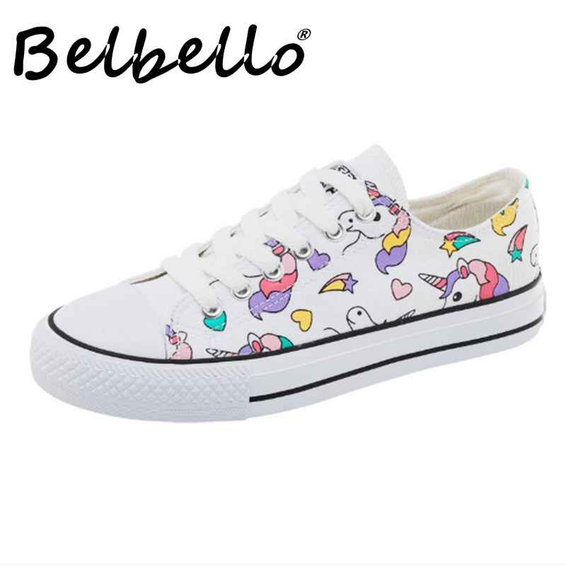 Belbello 2019 Summer New Canvas Shoes Lovely Printing Comfortable Shoes