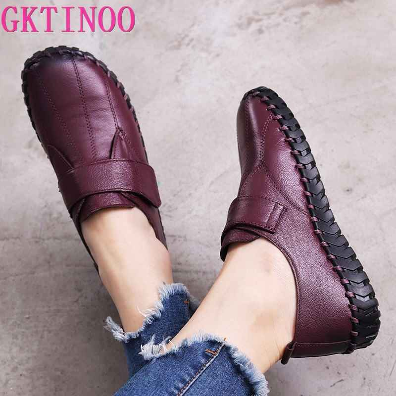 Gktinoo Spring Ladies Genuine Leather Handmade Shoes Women Hook &Loop