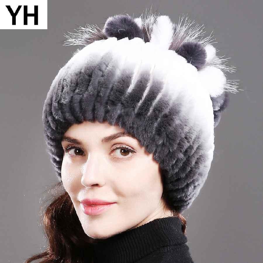 Russia New Knitted Real Rex Rabbit Fur Beanies Hats Women