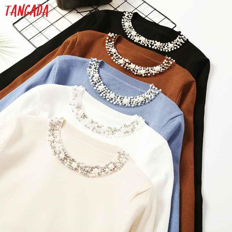 Sweaters tangada autumn winter women beaded neck sweater 2019 casaco