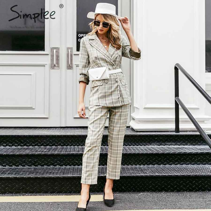 Plaid Double Breasted Women Blazer Suit Set Long Sleeve Office