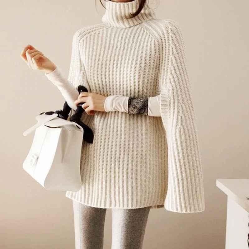 Oversize Sweater Fashion Cloak Winter Women Batwing Knitted Ladies Turtleneck