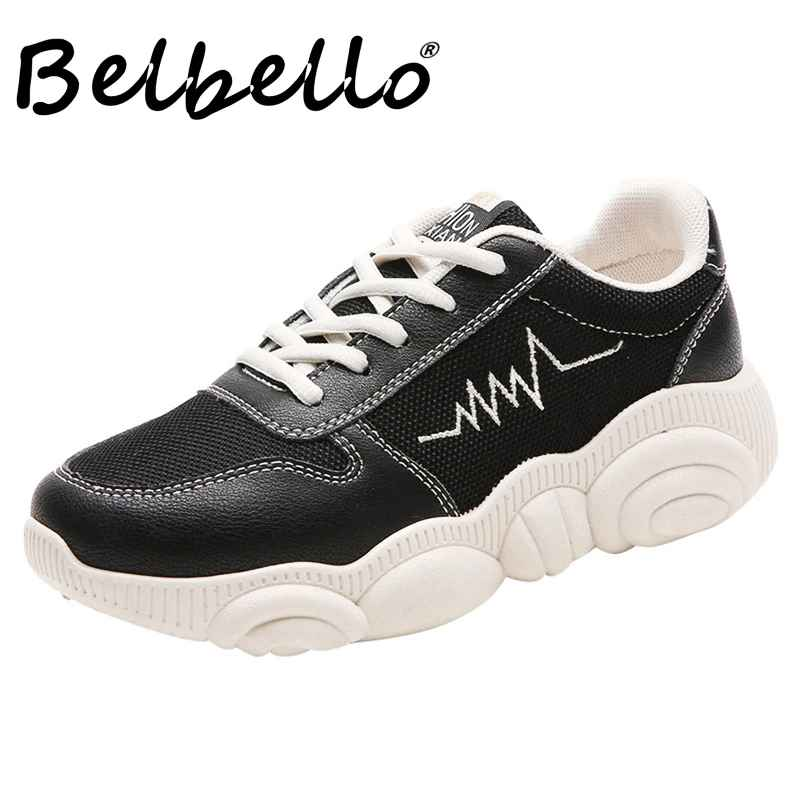 Belbello 2019 Summer Autumn Sports Shoes Lightweight Breathable White Shoes