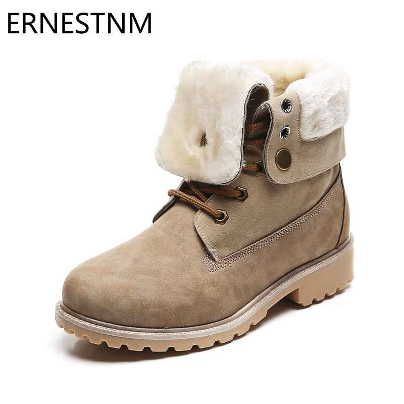 Ernestnm 2019 New Ankle Boots Waterproof Warm Women Flat Boots