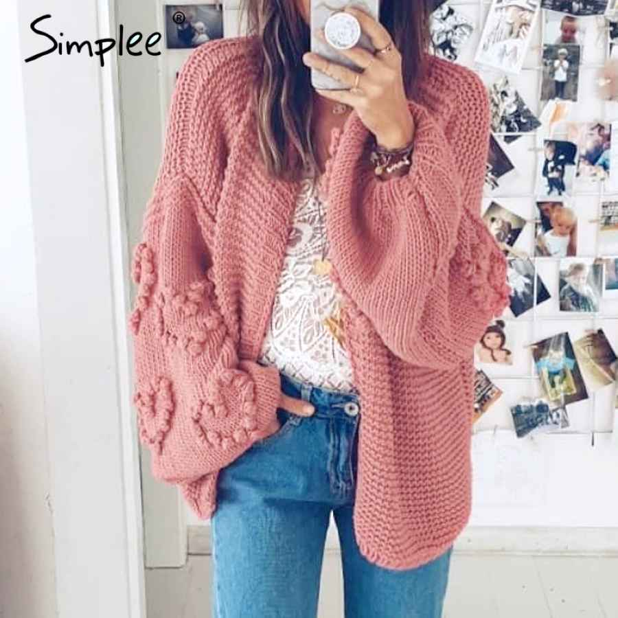 Loose Women Knitted Cardigans Oversized Lantern Sleeve Heart Crochet Jumper