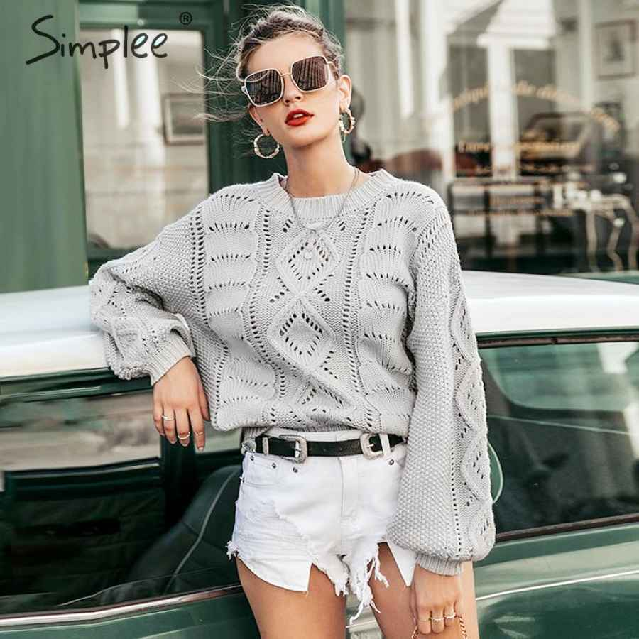 Hollow Out Knitted Women Pullover Sweater Lantern Sleeve Female Autumn