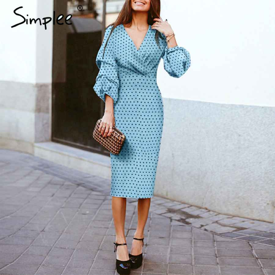 Elegant V-Neck Women Dress Polka Dot Lantern Sleeve Female Plus