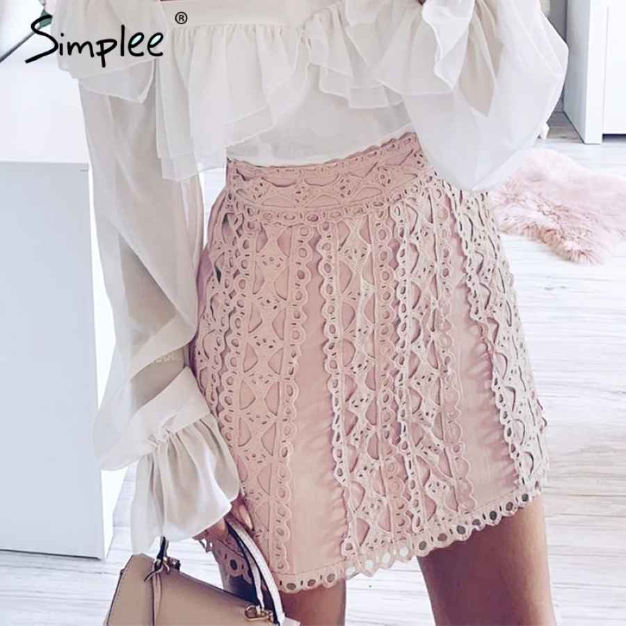 A-Line Lace Embroidery Women Skirt Casual Streetwear Autumn Female Short