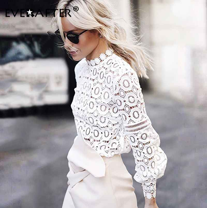 Blouses everafter elegant white lace blouse shirt women lantern sleeve
