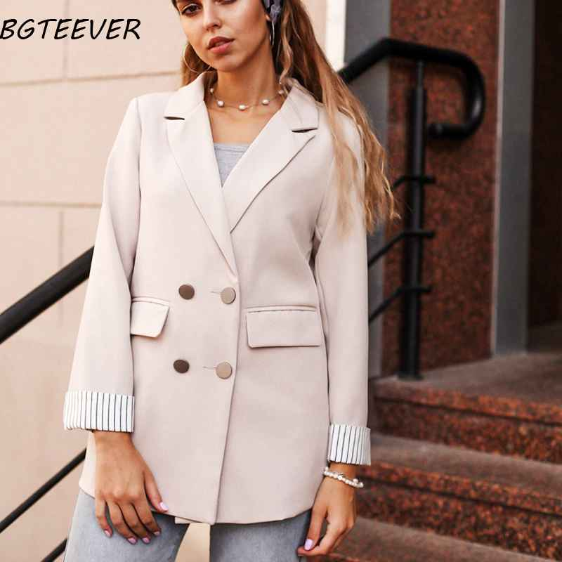 Blazers casual double breasted women jackets notched collar women blazer