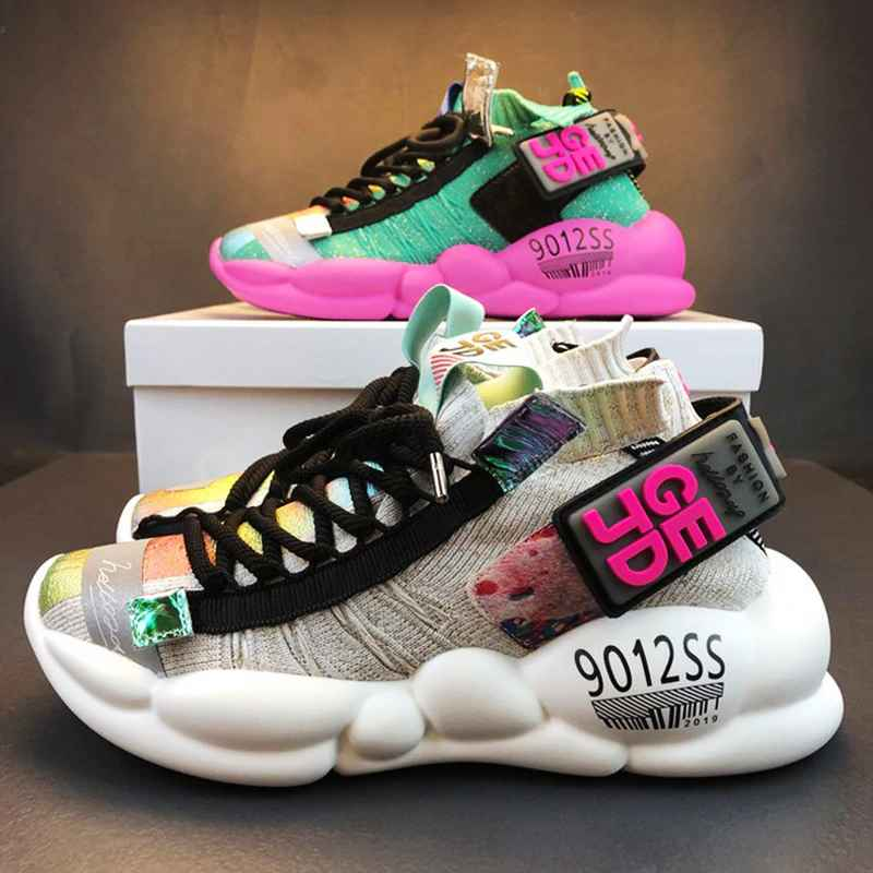 Women Chunky Sneakers Platform 5cm Thick Sole Ladies Casual Vulcanize