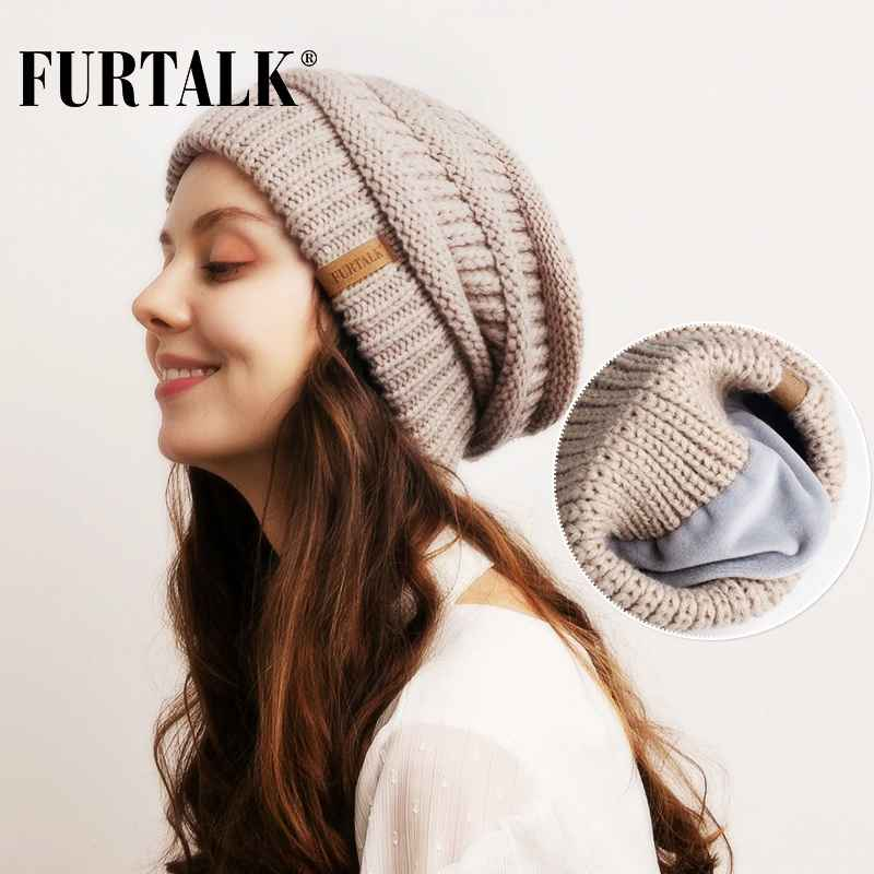 Furtalk Slouchy Beanie Winter Hat For Women Knitted Warm Fleece