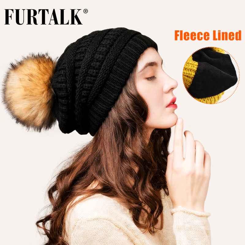 Furtalk Winter Beanie Hat For Women Knitted Pompom Hat Velvet