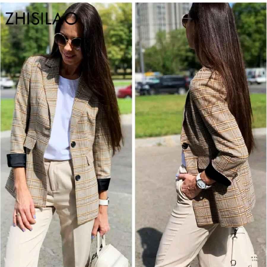 Blazers plaid blazer women elegant office long sleeve lattice blazer
