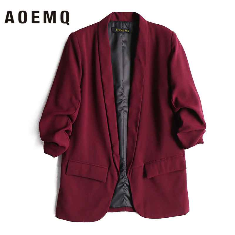 Coats aoemq women fall jackets deep color with pocket coats
