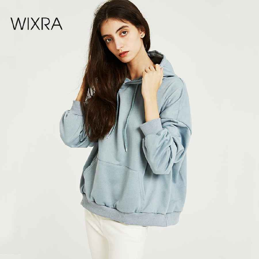Wixra Women Casual Sweatshirts Solid Classic Long Sleeve Loose Hoodies