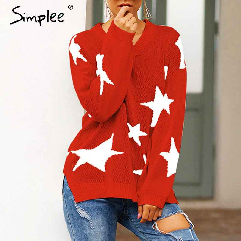 Pullover Jumpers Simplee V-Neck Star Women Knitted Pullover Sweater Long