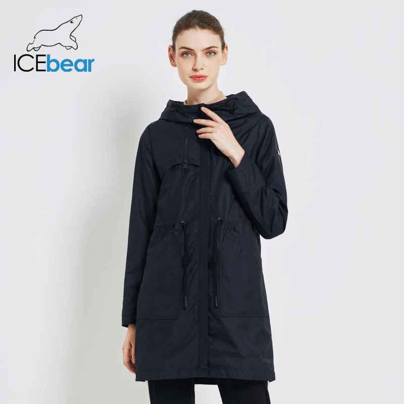 Icebear 2019 Autumn New Womens Windbreaker Hooded Women s Trench Coat